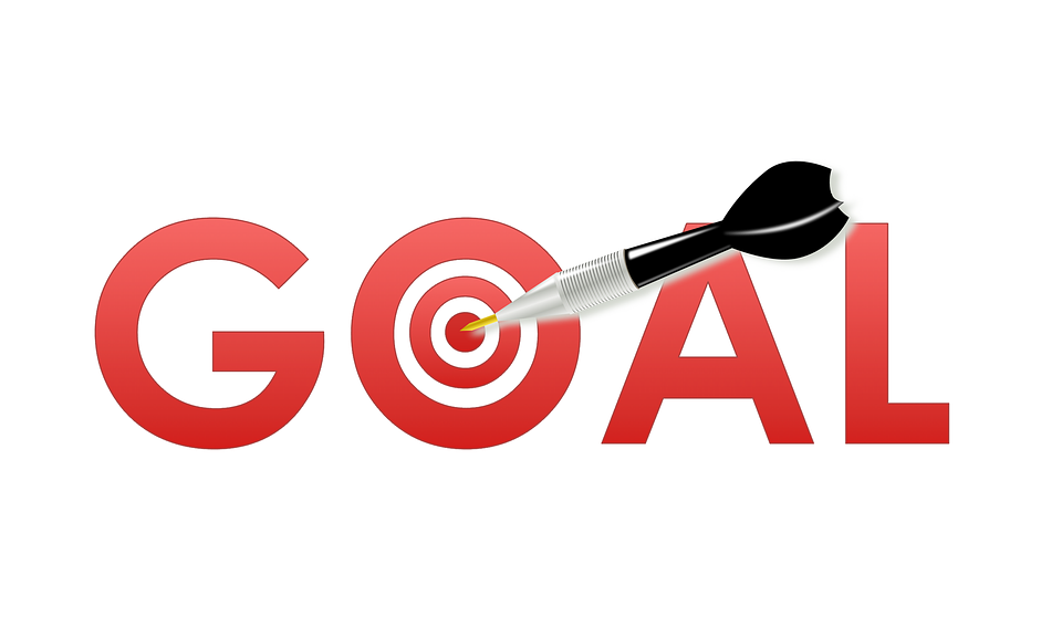 """the word """"goal"""" with a bullseye in place of the letter O"""
