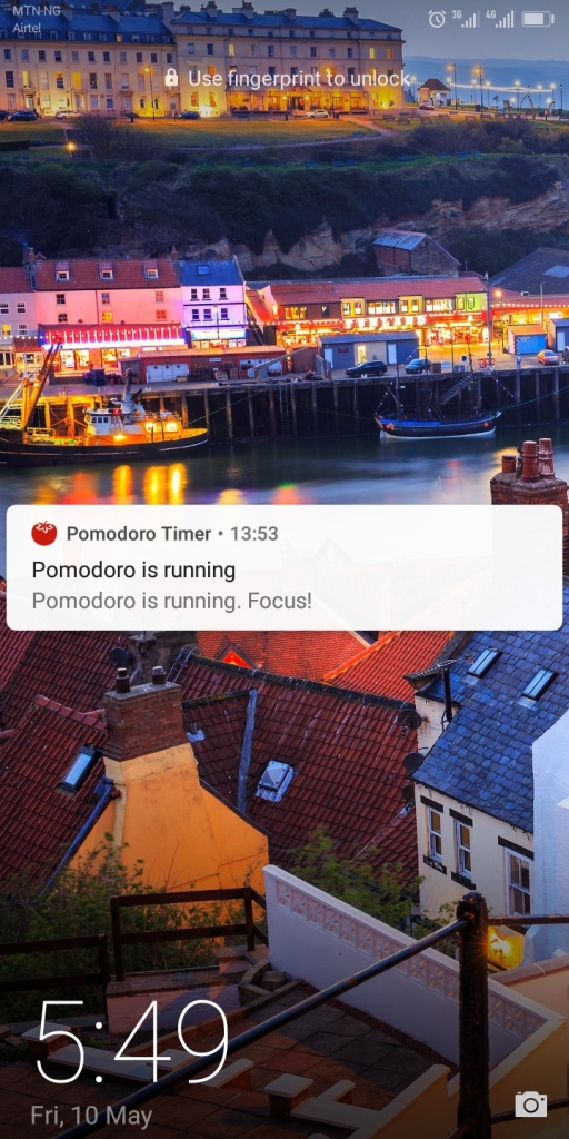 Screenshot of the message that displays on your phone during a pomodoro