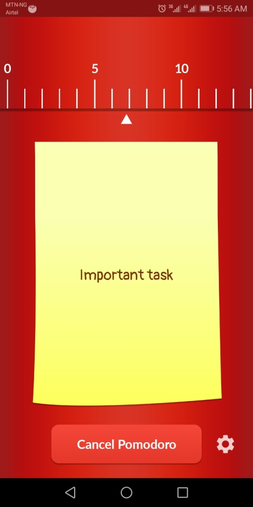 A screenshot of an ongoing task on pomodoro timer app