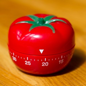 A tomato shaped kitchen timer