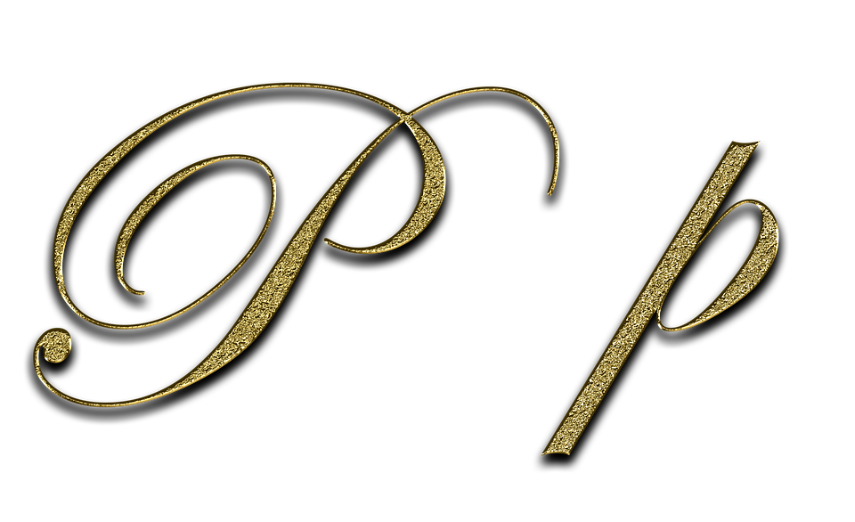 The Letter P written in gold in two different fonts