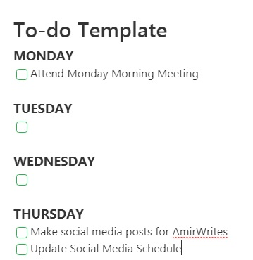 An Evernote to-do screen