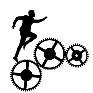 A man running across a set of gears