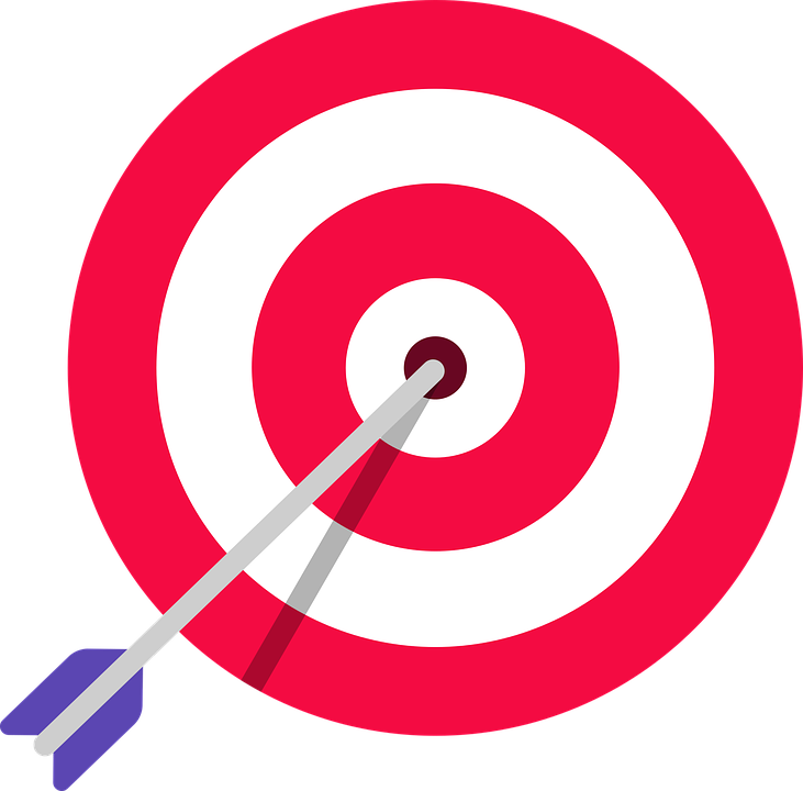 An arrow stuck in a bullseye