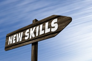 "A signboard with the phrase ""New skills"""