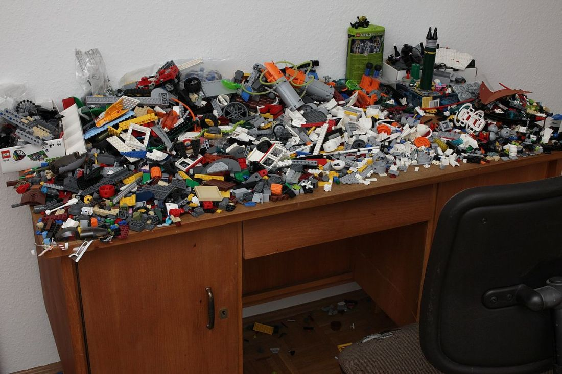 A desk overflowing with legos