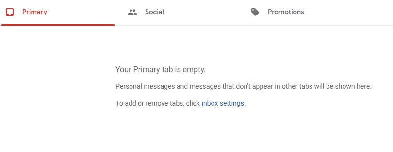 An empty email inbox