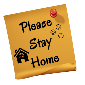 "A sticky note that says ""Please stay home"""