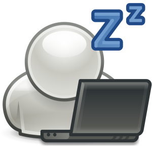 A person sleepy in front of a laptop