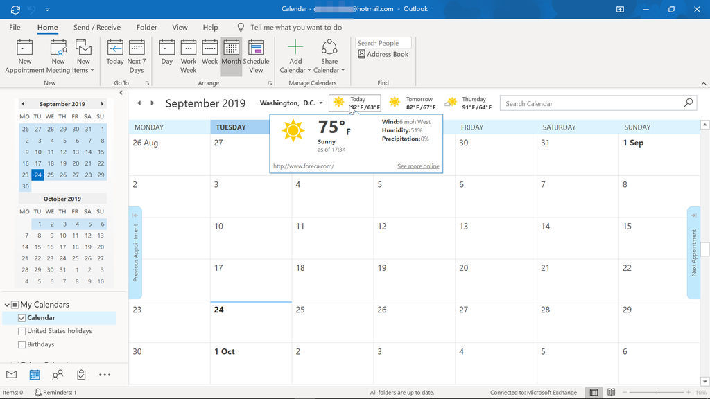 An outlook calendar page