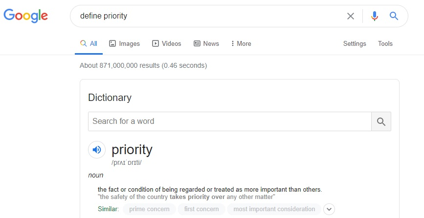 Define priority web result